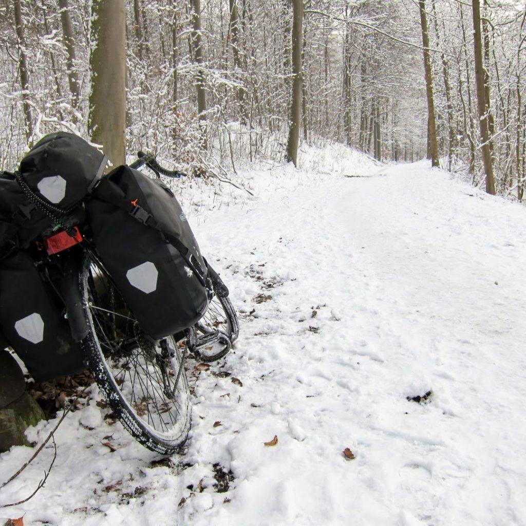 vélo neige forêt