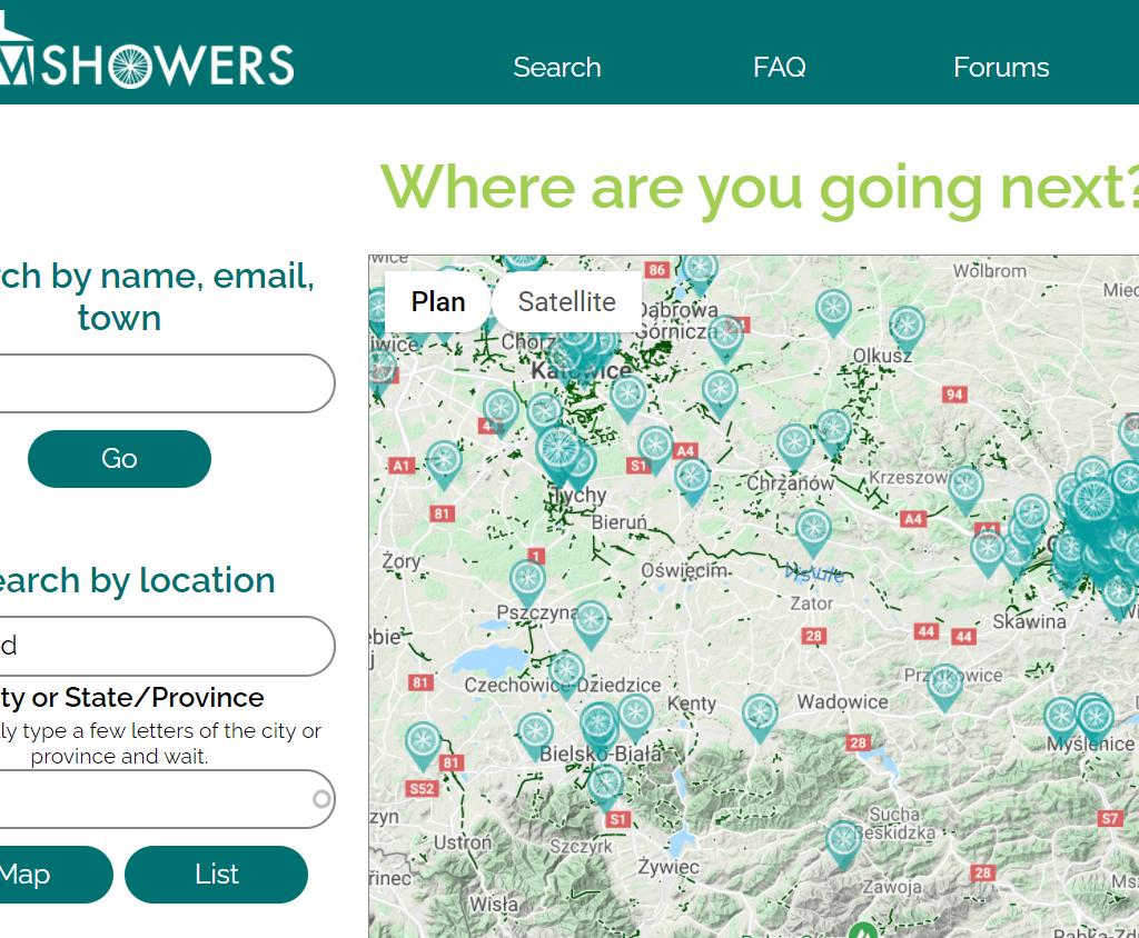 carte des hôtes sur Warmshowers
