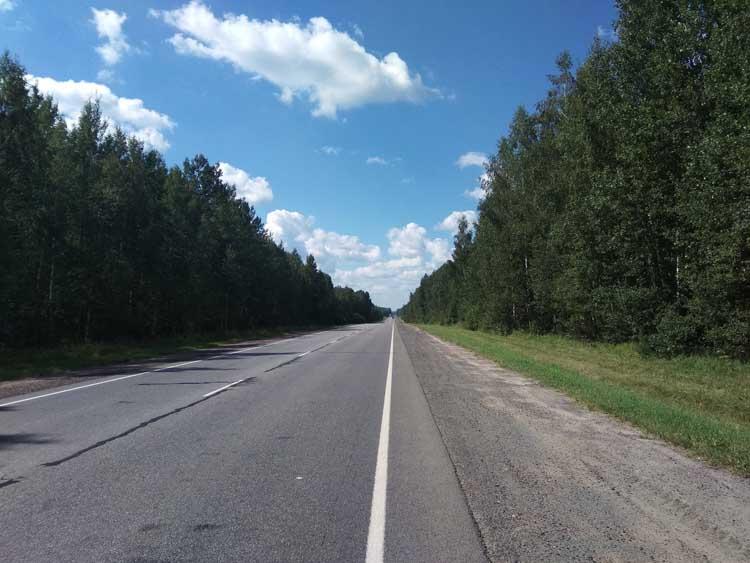 route de forêt en Russie