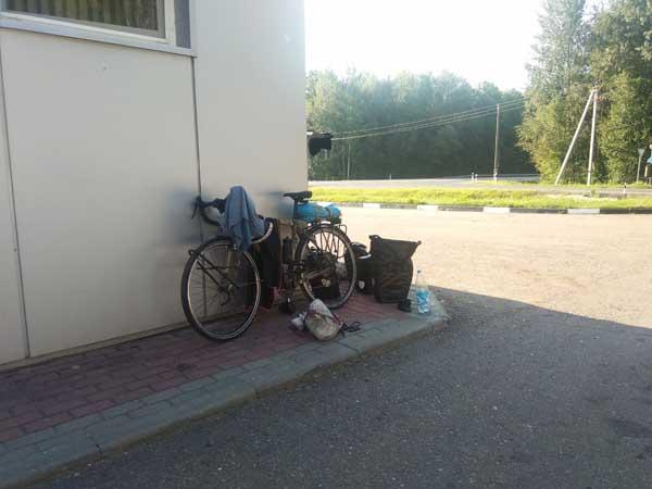 pause en station service en Russie